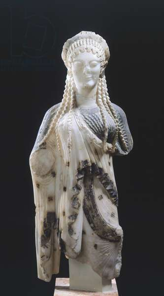 Kore 675, 510-520 BC, attributed to Archermos from Chios, marble sculpture of archaic age from Chios, Acropolis in Athens Greek Civilization, 6th Century BC